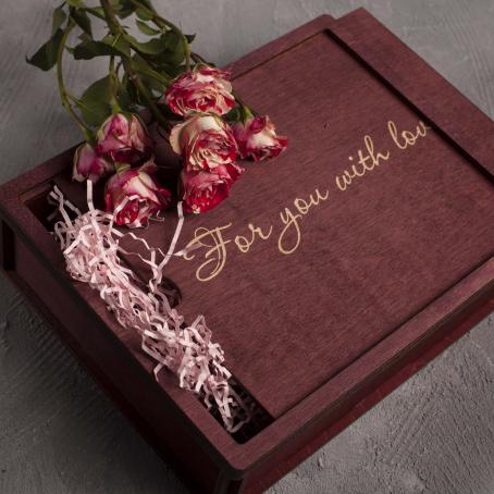 Деревянная коробка-пенал, махагон