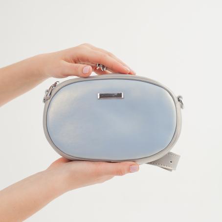 Сумка DOUBLE CLIP, голубой перламутр-серый перламутр